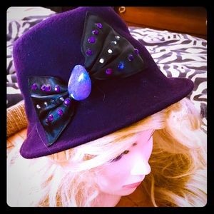 Accessories - ⭐️CUTE PURPLE HAT W/CRYSTALS⭐️